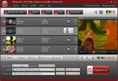 Capture d'écran 4Videosoft iPod Vidéo Convertisseur