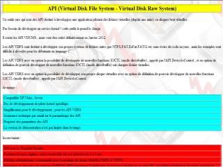 Capture d'écran API VDFS-VDRS