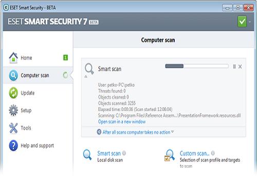 Capture d'écran Eset Internet Security bêta