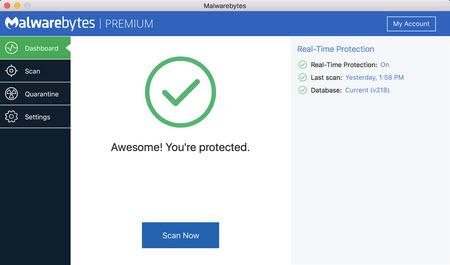 Capture d'écran Malwarebytes Anti-Malware pour Mac