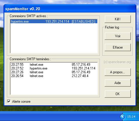 Capture d'écran spamMonitor