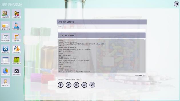 Capture d'écran ERP PHARMA