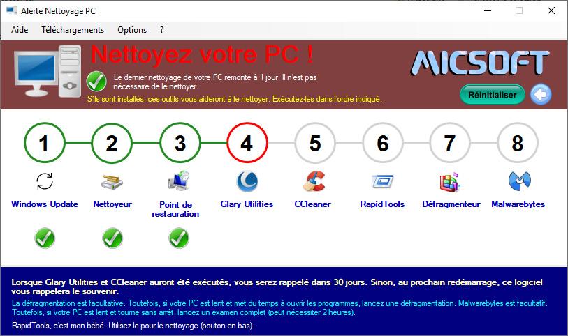 Capture d'écran Alerte Nettoyage PC