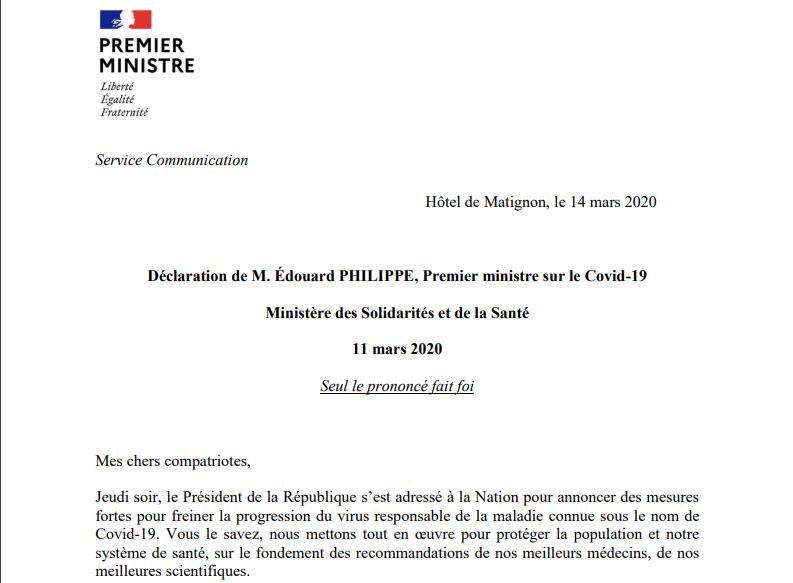 Capture d'écran Coronavirus – Annonces Edouard Philippe 14 mars