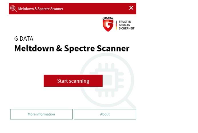 Capture d'écran G DATA Meltdown & Spectre Scanner