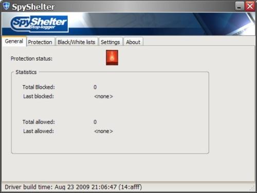 Capture d'écran SpyShelter