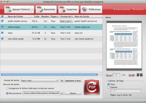 Capture d'écran 4Videosoft Convertisseur PDF en Texte pour Mac