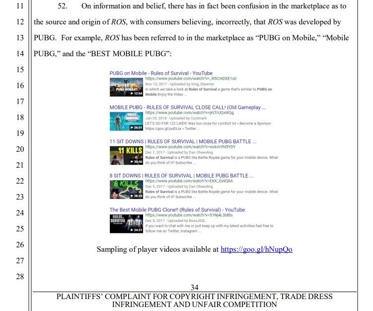Capture d'écran Plainte de PUBG Corp contre Netease