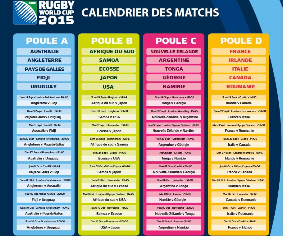 Capture d'écran Calendrier complet de la coupe du monde de rugby 2015
