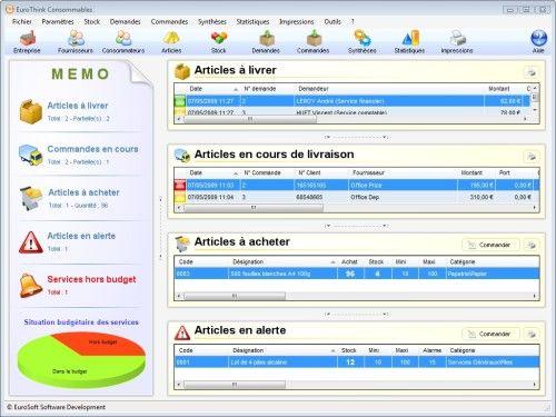 Capture d'écran EuroThink Consommables