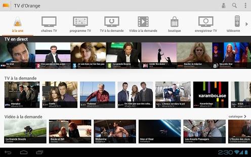 Capture d'écran TV d'Orange Android