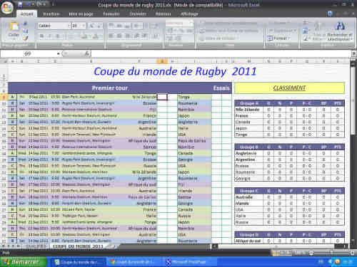 Capture d'écran Coupe du monde de rugby 2011