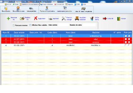 Capture d'écran Gestion atelier de maintenance assisté par ordinateur