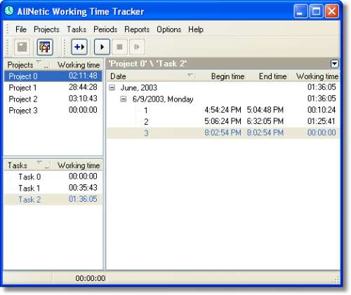 Capture d'écran AllNetic Working Time Tracker