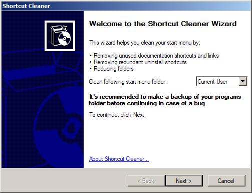 Capture d'écran Shortcut Cleaner