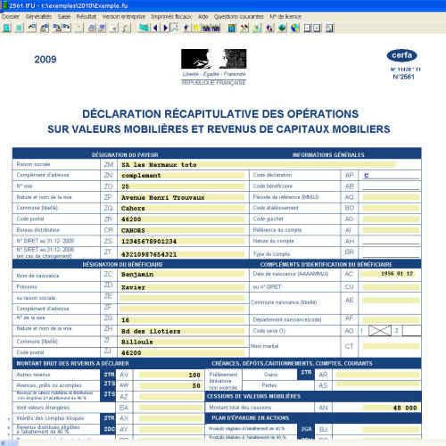 Capture d'écran IFU (Imprimé Fiscal Unique)