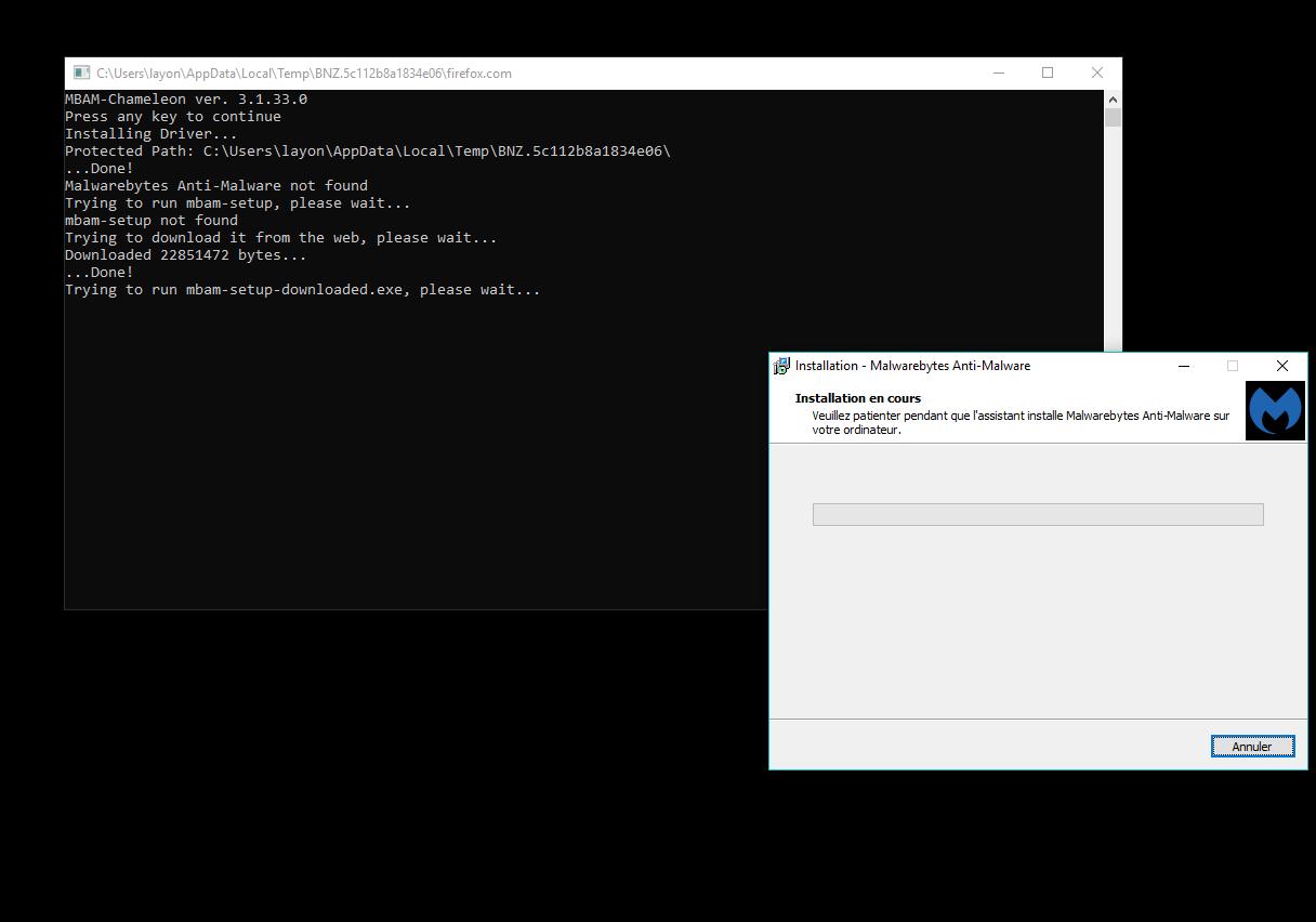 Capture d'écran Malwarebytes Chameleon