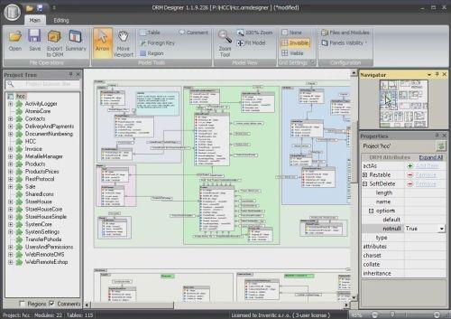 Capture d'écran ORM Designer