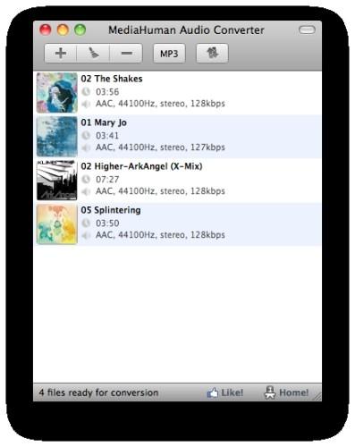 Capture d'écran MediaHuman Audio Converter MAC