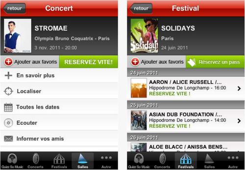 Capture d'écran Infoconcert iOS