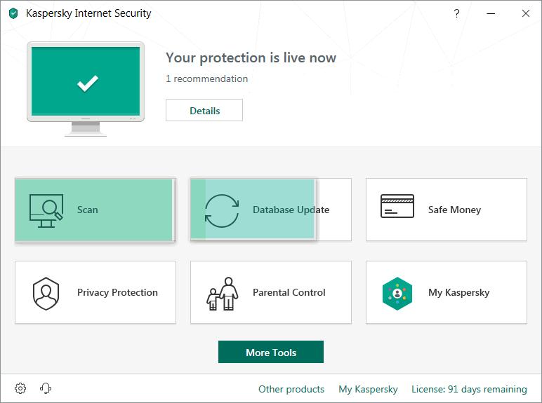 Capture d'écran Kaspersky Internet Security 2020 Technical Preview