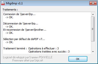 Capture d'écran MigrImp v1.1.1