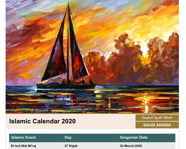 Capture d'écran Calendrier fêtes musulmanes 2019 (PDF)