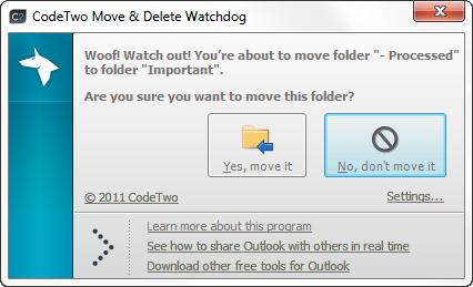 Capture d'écran CodeTwo Move & Delete Watchdog