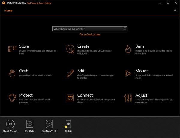Capture d'écran Daemon Tools Ultra