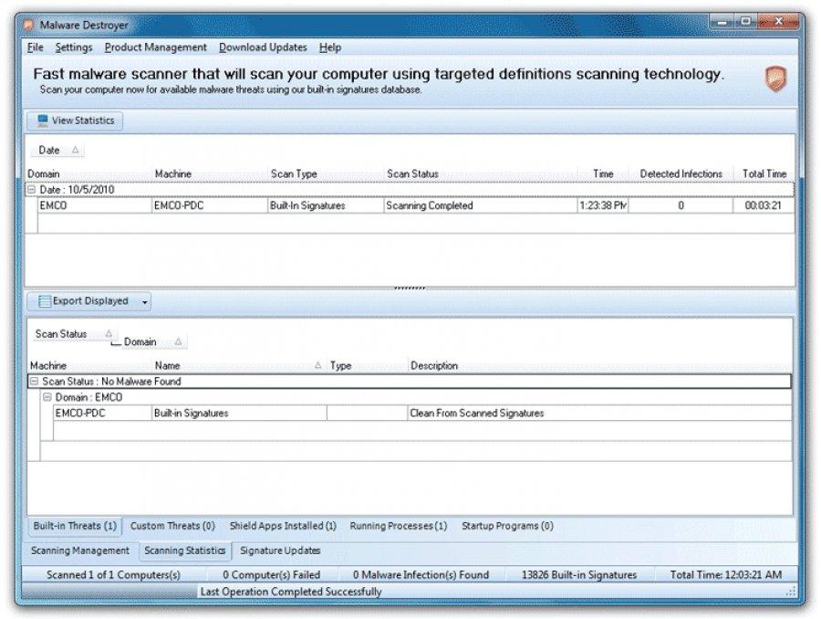 Capture d'écran EMCO Malware Destroyer