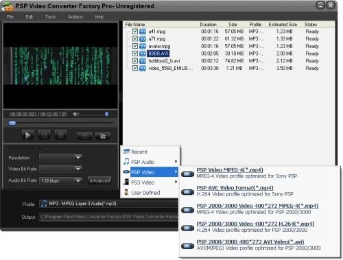 Capture d'écran PSP Video Converter Factory Pro
