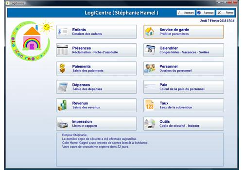 Capture d'écran LogiCentre – Version RSG