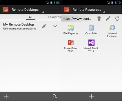 Capture d'écran Microsoft Remote Desktop Android