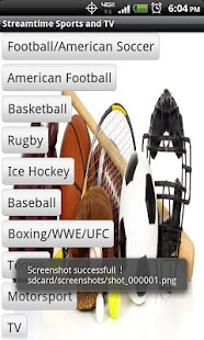 Capture d'écran Streamtime Sports and TV