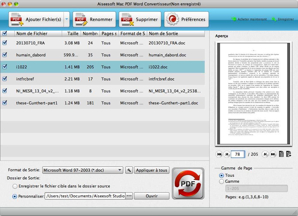 Capture d'écran Aiseesoft Mac PDF Word Convertisseur