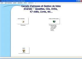 Capture d'écran Listes diverses et adresses