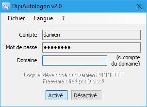 Capture d'écran DipiAutologon v2.1