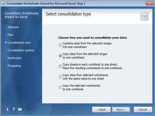 Capture d'écran Consolidate Worksheets Wizard for Excel