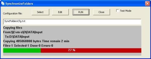 Capture d'écran SynchronizeFolders