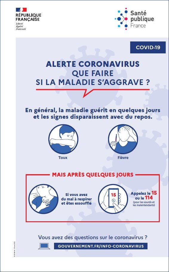 Capture d'écran Affiche prévention Coronavirus – Que faire si la maladie s'aggrave