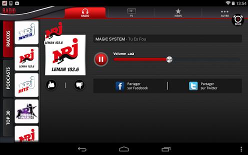 Capture d'écran NRJ Léman Tablette