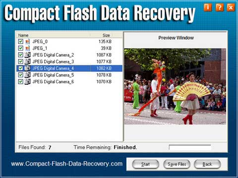 Capture d'écran Compact Flash Data Recovery