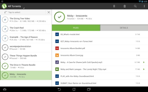 Capture d'écran µTorrent® – Torrent Downloader