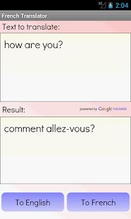 Capture d'écran Traducteur français anglais