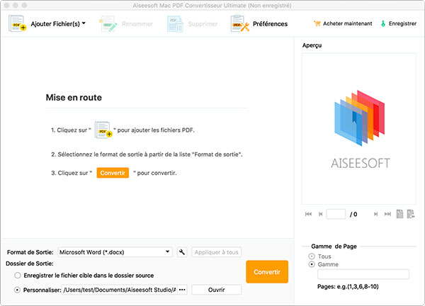 Capture d'écran Aiseesoft Mac PDF Convertisseur Ultimate