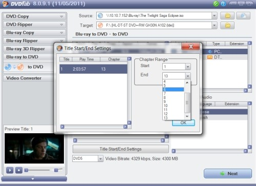 Capture d'écran DVDFab Blu-ray to DVD Converter