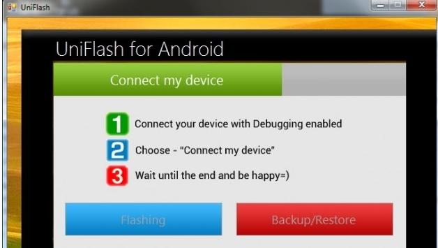 Capture d'écran UniFlash