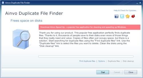 Capture d'écran Ainvo Duplicate File Finder