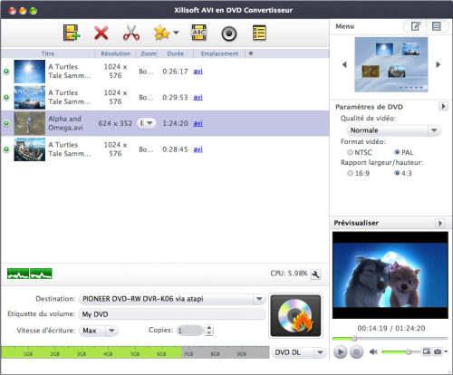 Capture d'écran Xilisoft AVI en DVD Convertisseur pour Mac