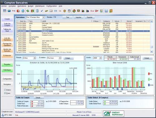 Capture d'écran Comptes Bancaires Ymsoft